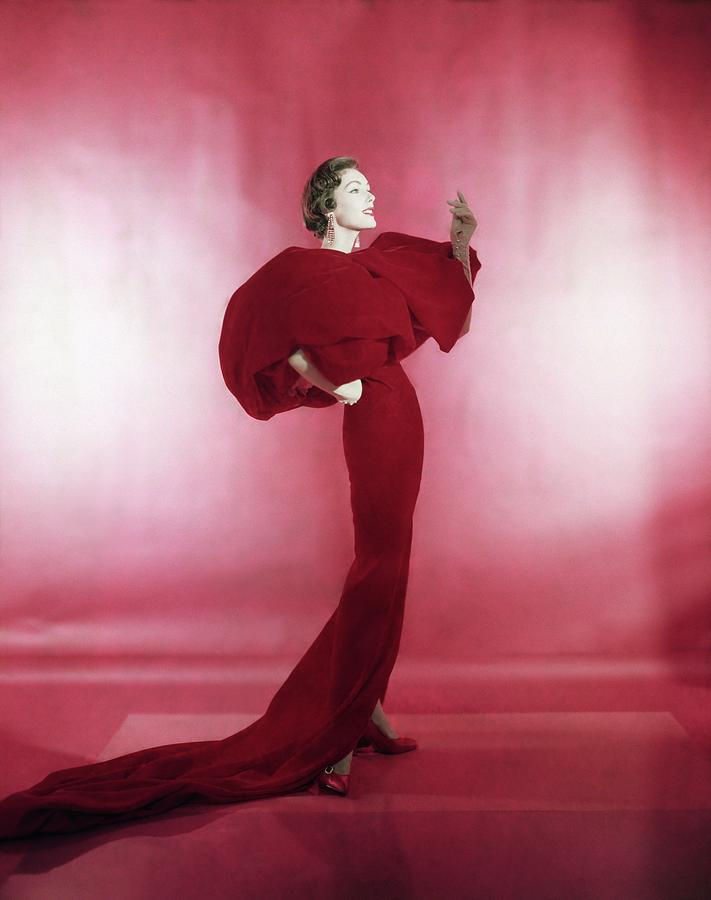 Model Wearing Red Evening Dress Photograph by Horst P. Horst