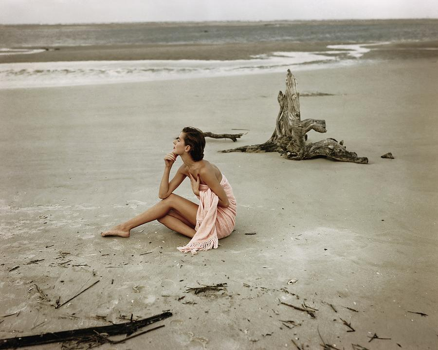 Model Wrapped In A Pink Towel On The Beach Photograph by Frances McLaughlin-Gill