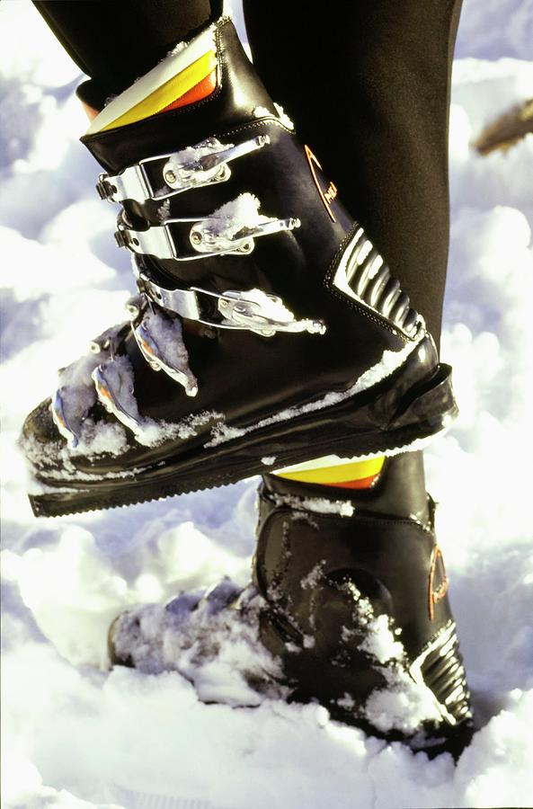 Accessories Photograph - Models Feet Wearing Ski Boots by Arnaud de Rosnay