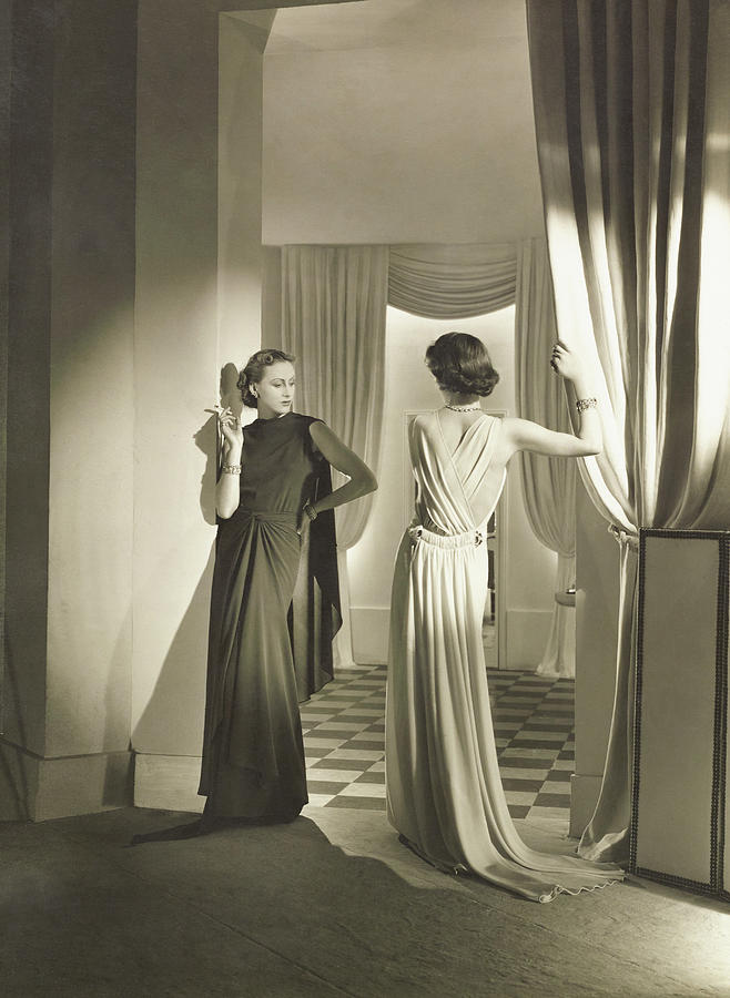 Models In Lucien Lelong Dresses And Mauboussin Photograph by Horst P. Horst