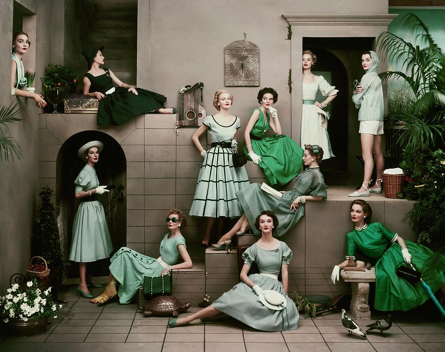 Models In Various Green Dresses Photograph by Frances Mclaughlin-Gill