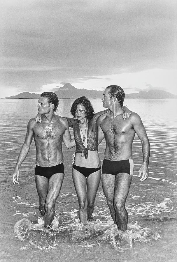 Models On A Beach In Swimwear Photograph by Chris von Wangenheim