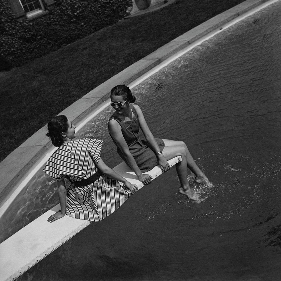 Models On A Diving Board Photograph by Toni Frissell