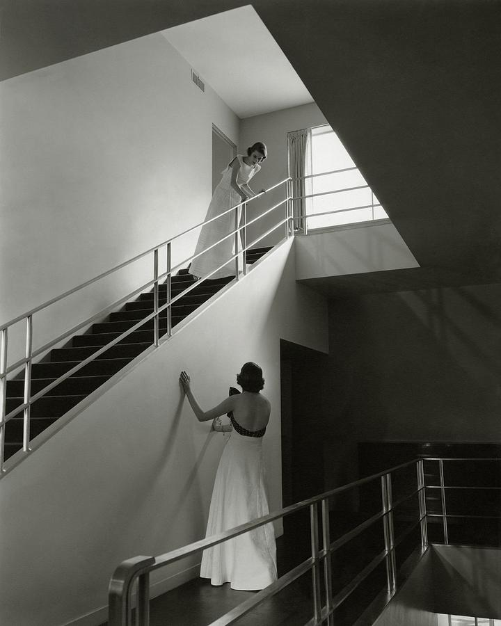 Models On A Staircase Photograph by Edward Steichen