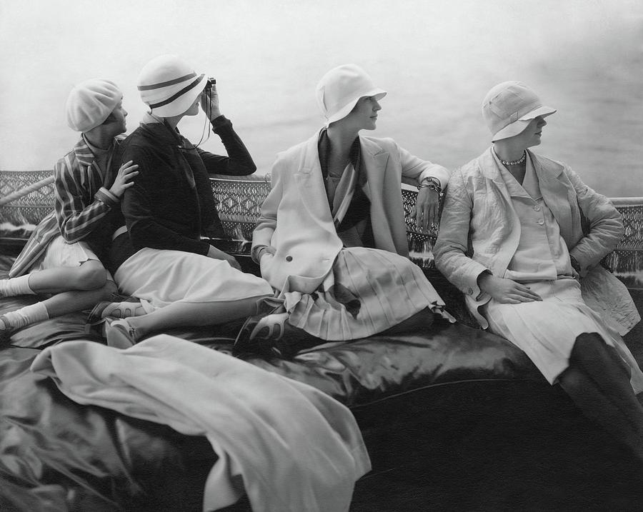 Models On A Yacht Photograph by Edward Steichen