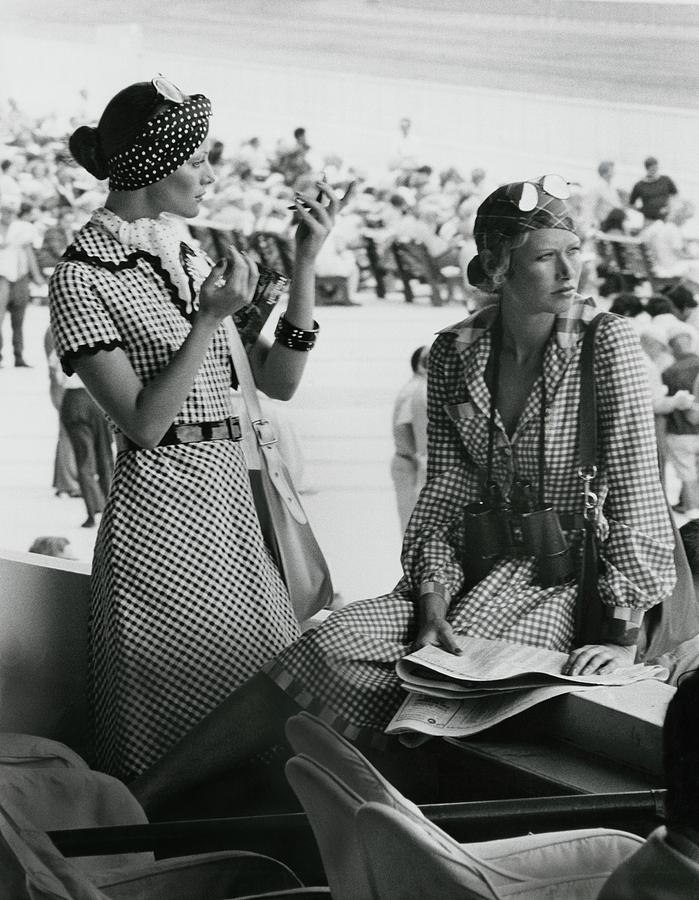 Models Wearing Checked Shirtdresses At Hialeah Photograph by Kourken Pakchanian