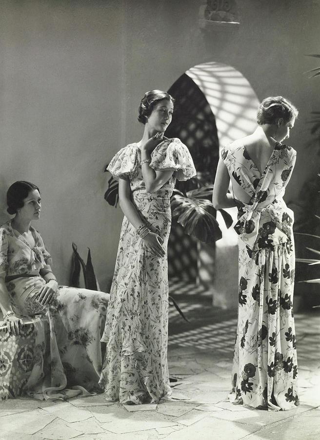 Models Wearing Floral Print Dresses Photograph by George Hoyningen-Huene