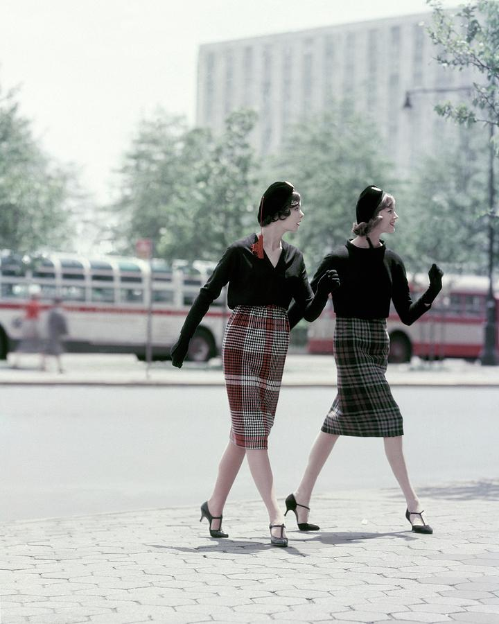 Models Wearing Plaid Skirts Photograph by Sante Forlano