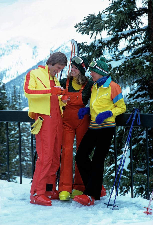 Models Wearing Ski Clothes Photograph by William Connors