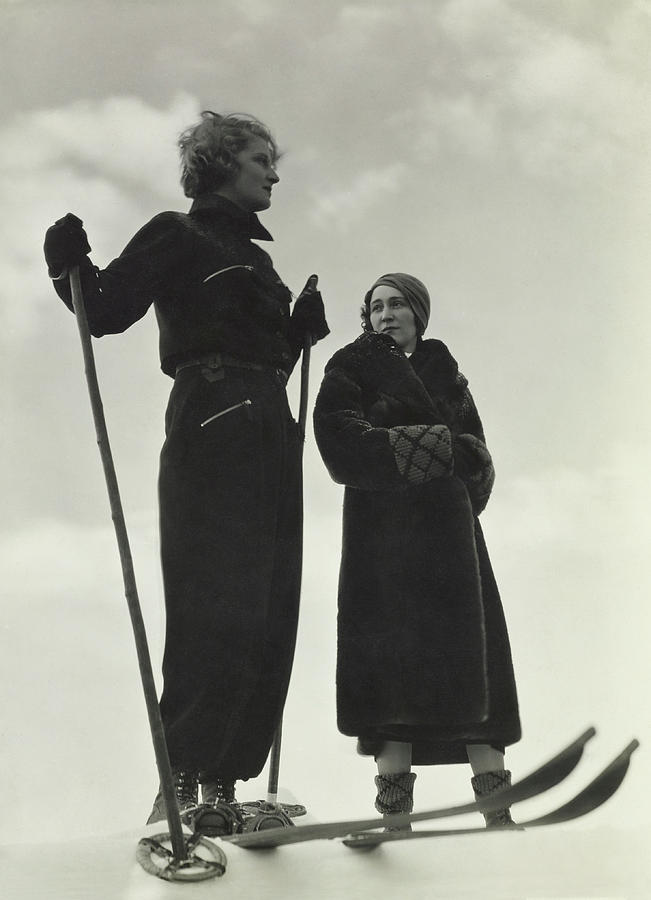 Models Wearing Skiing Ensembles Photograph by George Hoyningen-Huene