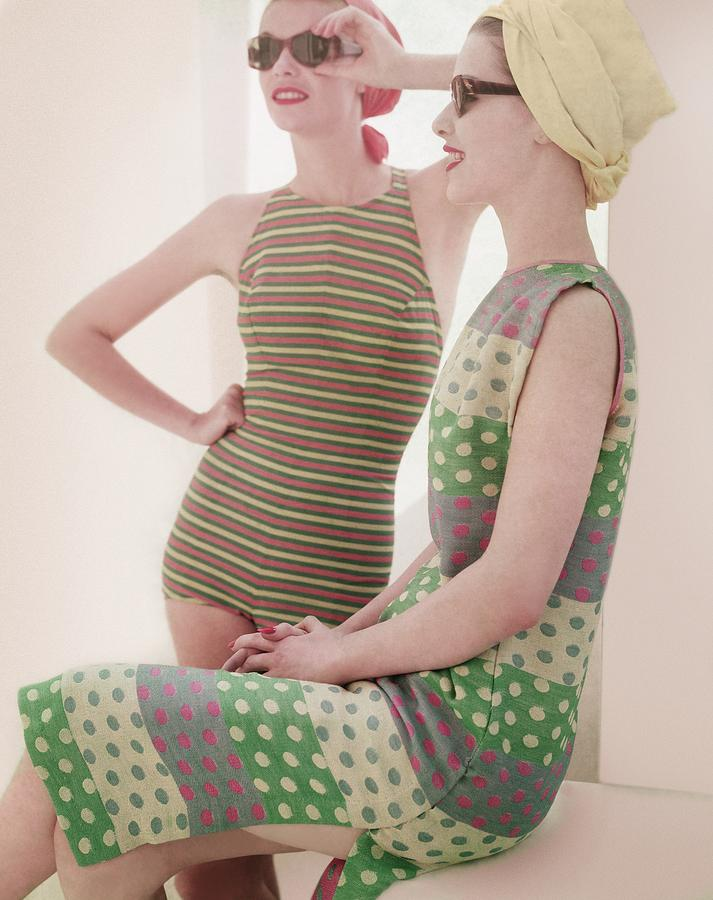 Models Wearing Swimwear And Dress Photograph by Horst P. Horst