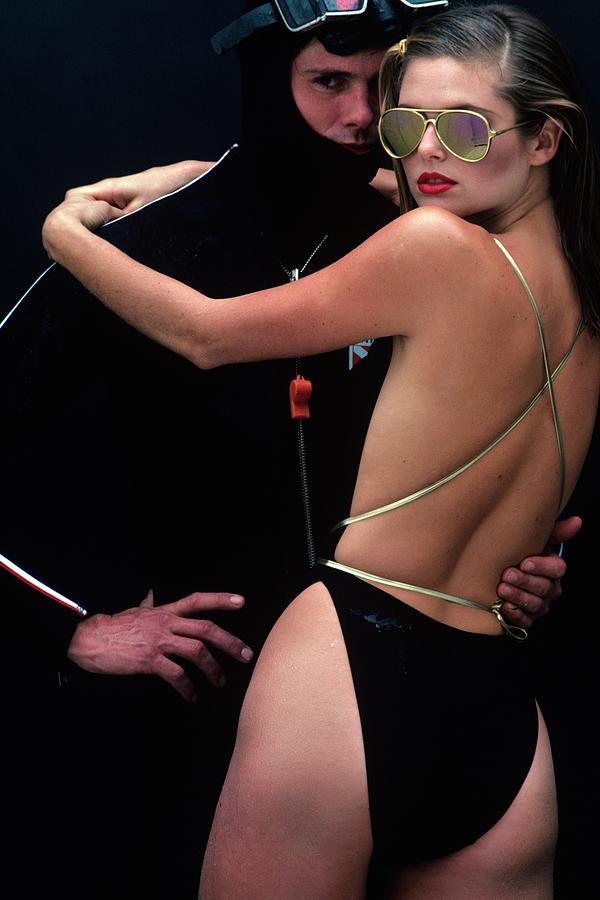 Fashion Photograph - Models Wearing Swimwear by Jacques Malignon