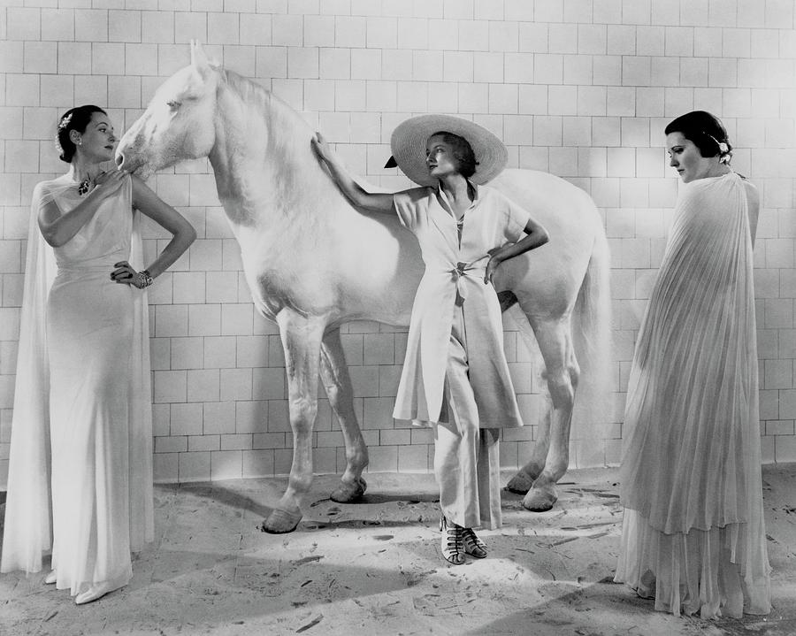 Models With A Horse Photograph by Edward Steichen
