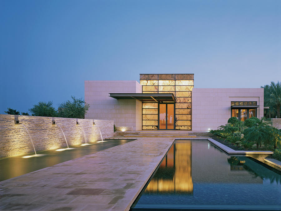 Modern Building With Pool At Dusk Photograph by Erhard Pfeiffer