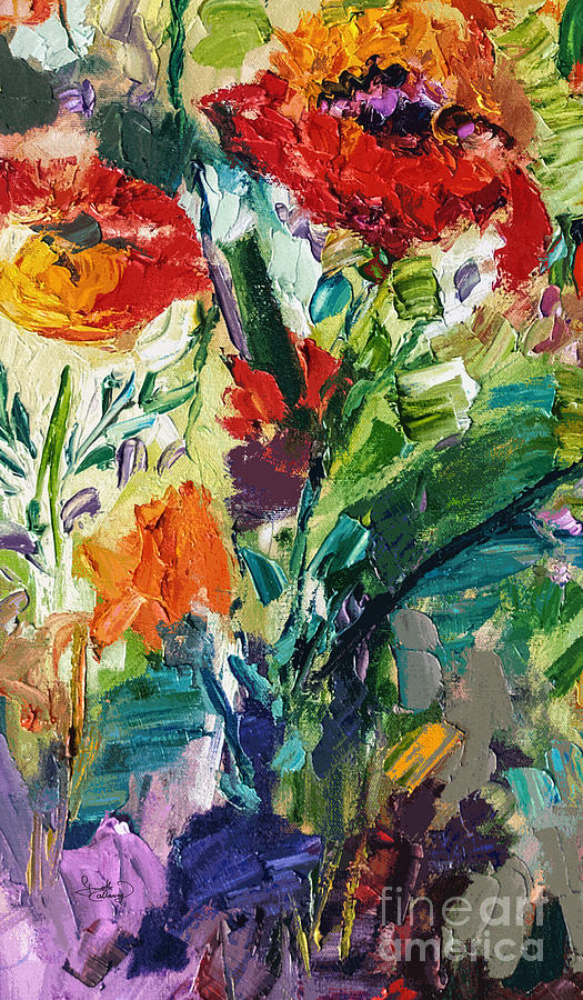 Modern Expressive Red Poppies Wildflowers by Ginette Callaway