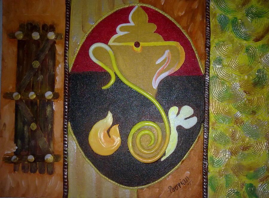 Acrylic On Canvas Paintings Painting - Mixed Media Ganesha by Poornima Ravi