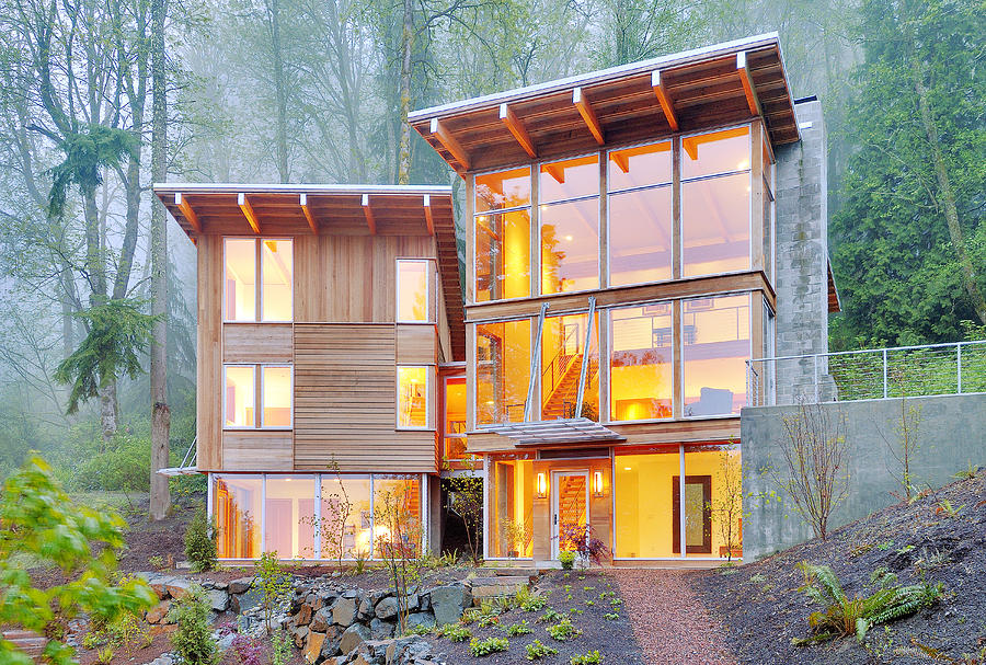 Architecture Photograph - Modern Home In Woods by Will Austin