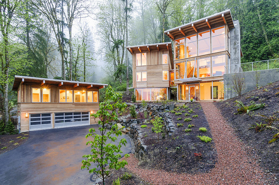 Abode Photograph - Modern House Illuminated In Woods by Will Austin