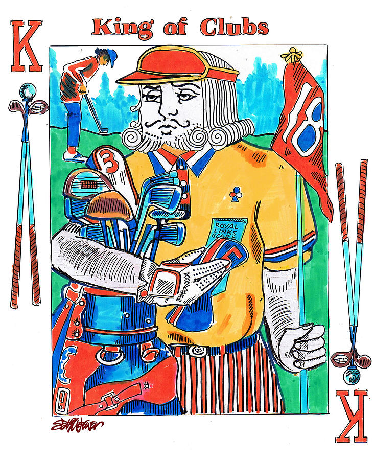 Markers Drawing - Modern King O Clubs by Seth Weaver