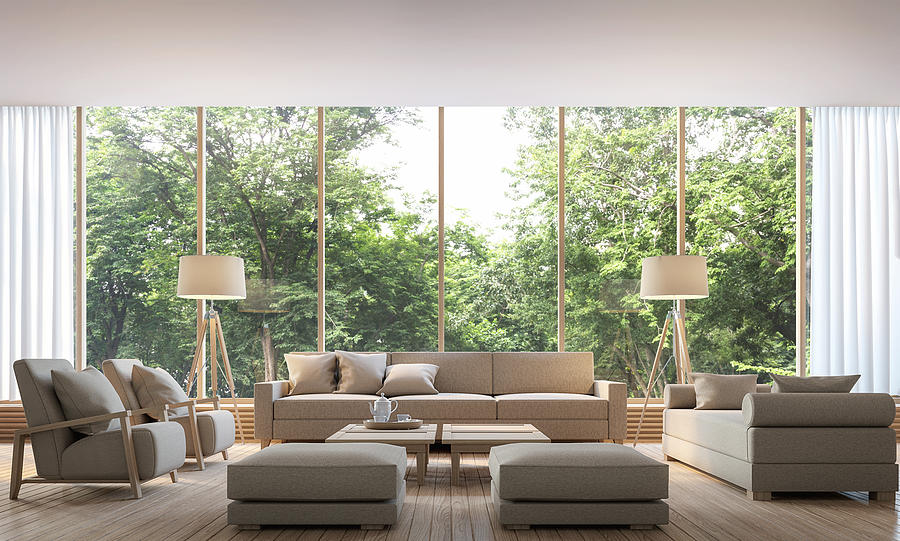 modern living room with nature view 3d rendering imagerunna10