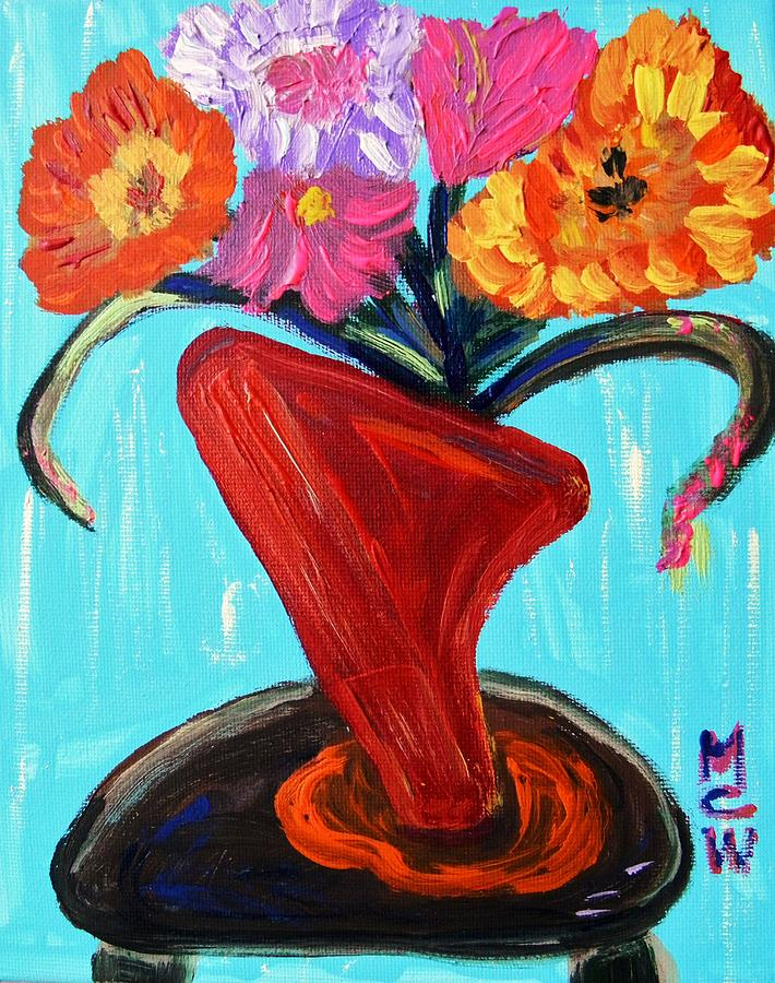 Vase Painting - Modern Red Vase by Mary Carol Williams