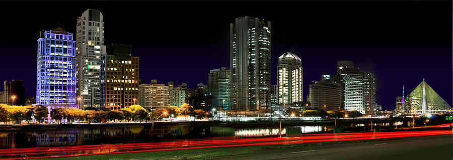 Modern Sao Paulo Skyline near Brooklin District and Stayed Bridge by Carlos Alkmin