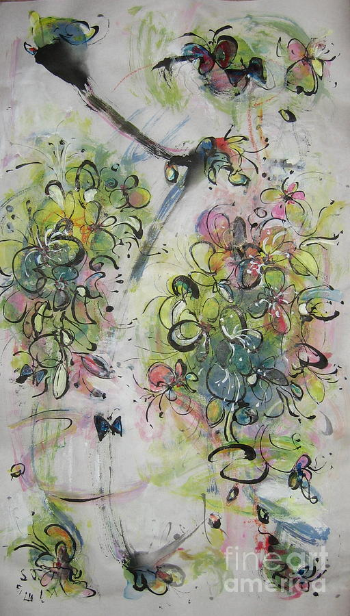 Modern Spring Blossom Art Painting Flower Butterfly Art Acrylic Ink Rice Paper Green Yellow Pink Sjk Painting by Seon-Jeong Kim