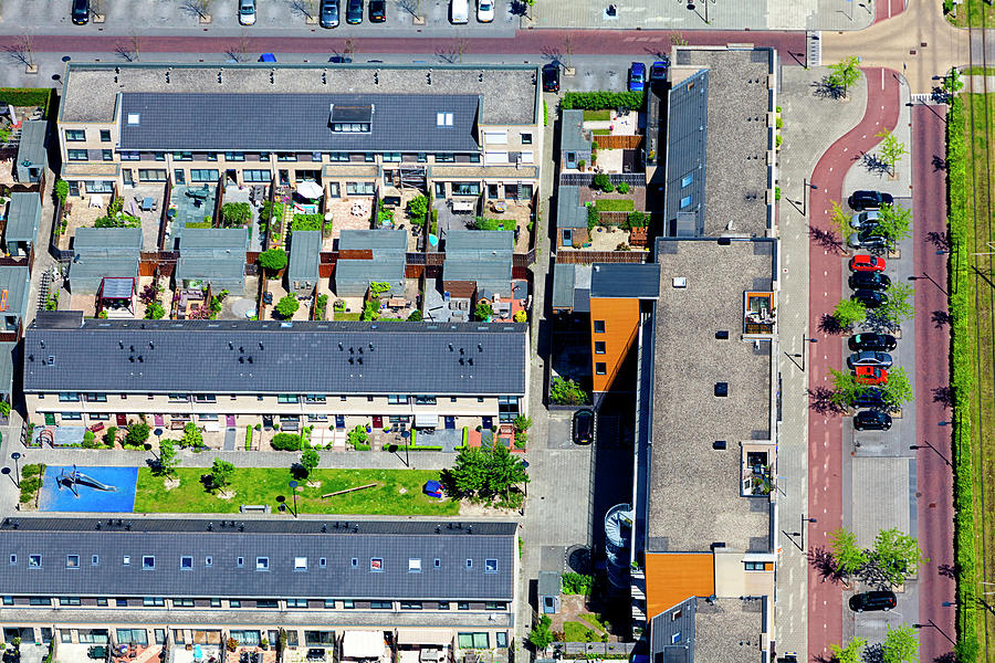 Modern Suburb Aerial View Photograph by Opla
