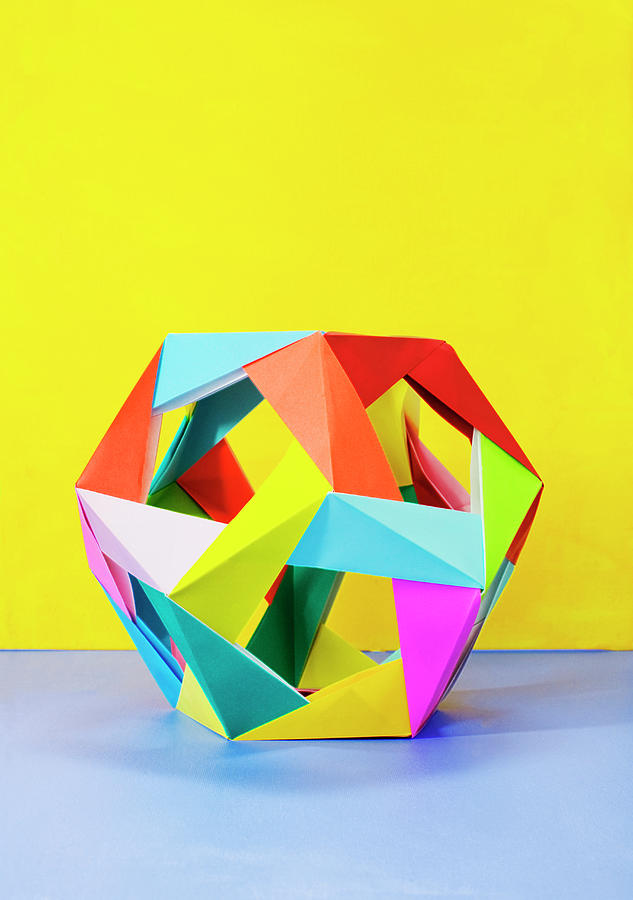 Modular Origami Sculpture On Colorful Photograph by Mimi  Haddon