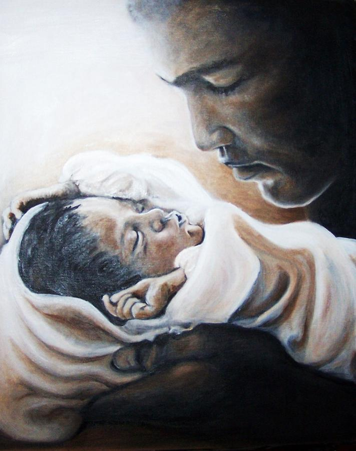 Mohammad Ali Painting - Mohammad Ali And Baby Laila by Martha Suhocke