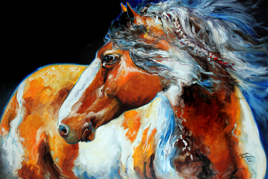 Horse Painting - Mohican The Indian War Pony by Marcia Baldwin