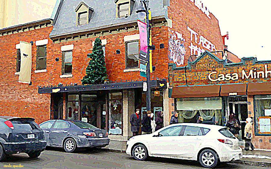Moishes Steakhouse Restaurant Painting - Moishes Restaurant Plateau Montreal Memories Vintage Landmark  Winter Scene Art Carole Spandau  by Carole Spandau
