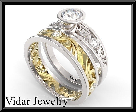 Gemstone Jewelry - Moissanite And Diamond 14k White And Yellow Gold Wedding Ring Set  by Roi Avidar