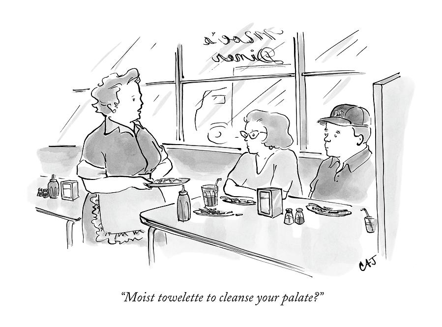 Moist Towelette To Cleanse Your Palate? Drawing by Carolita Johnson