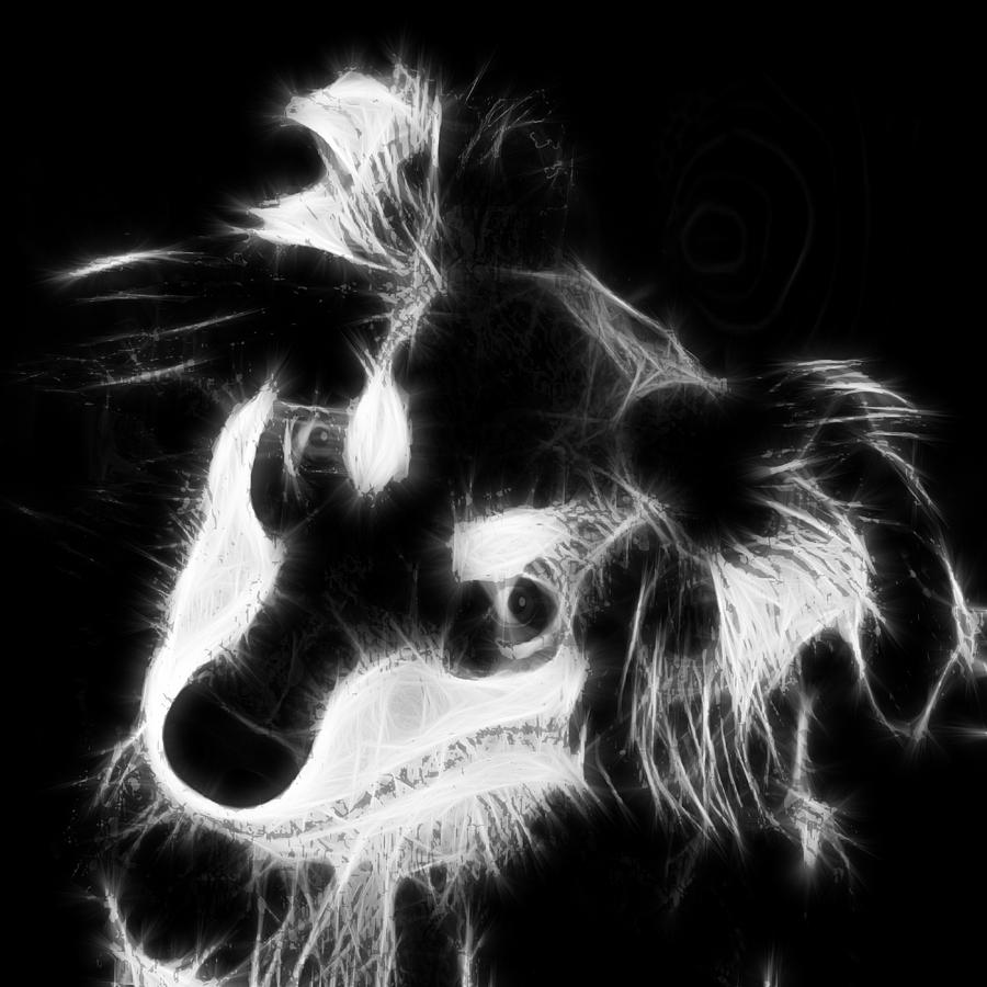 Black And White Canvas Digital Art - Moja - Black And White by Marlene Watson