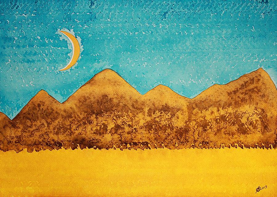 Desert Painting - Mojave Moonrise Original Painting by Sol Luckman