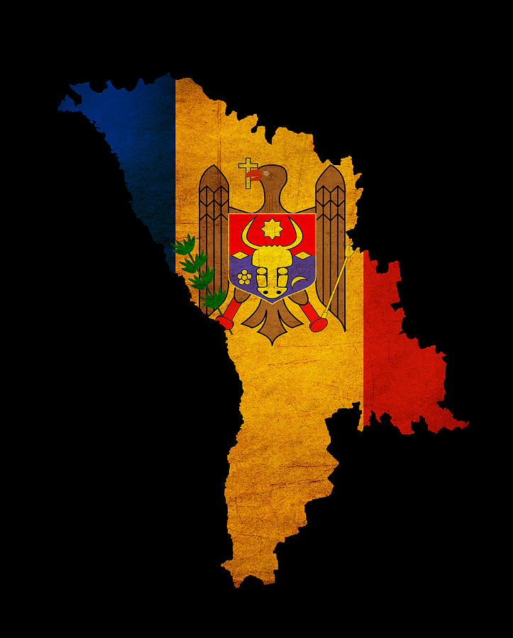 Moldova Grunge Map Outline With Flag Photograph By Matthew Gibson - Moldova map outline