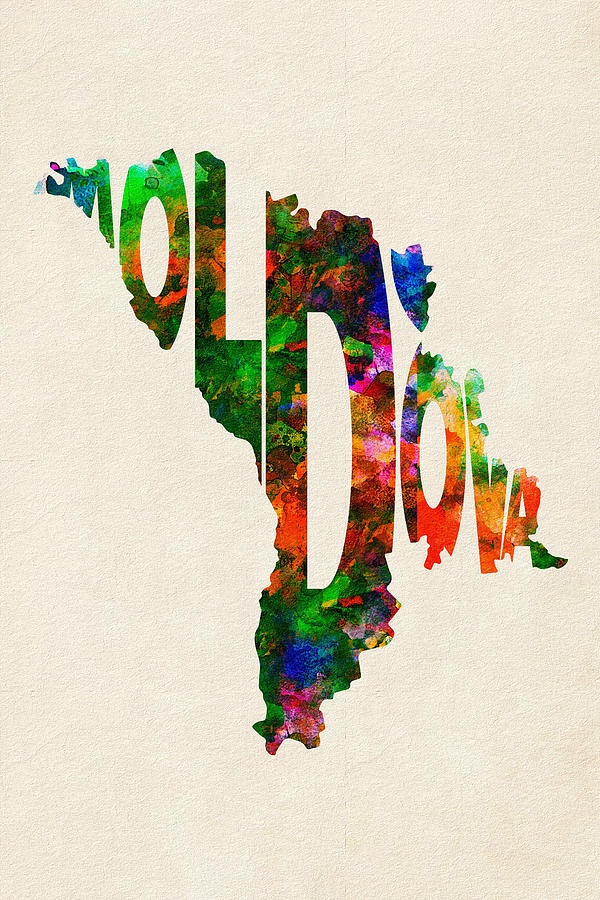 Moldova Painting - Moldova Typographic Watercolor Map by Inspirowl Design