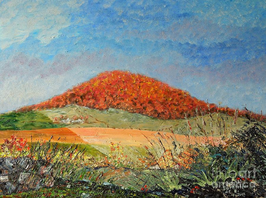 Blue Painting - Mole Hill Flaunting Autumn- SOLD by Judith Espinoza
