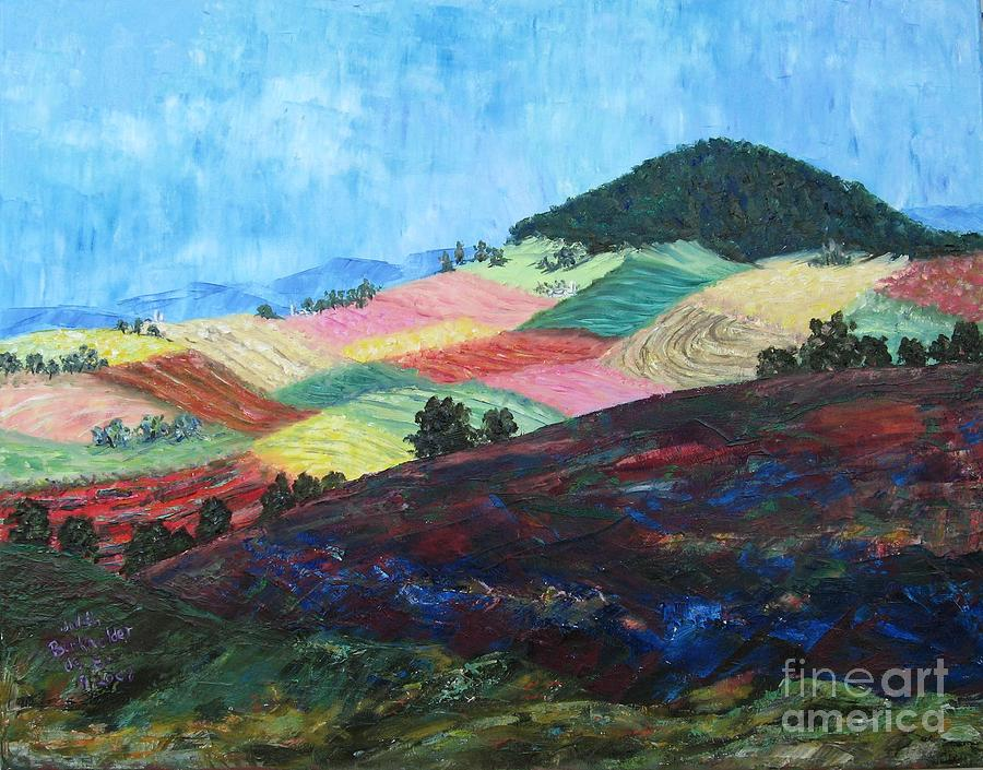 Landscape Painting - Mole Hill Patchwork - SOLD by Judith Espinoza
