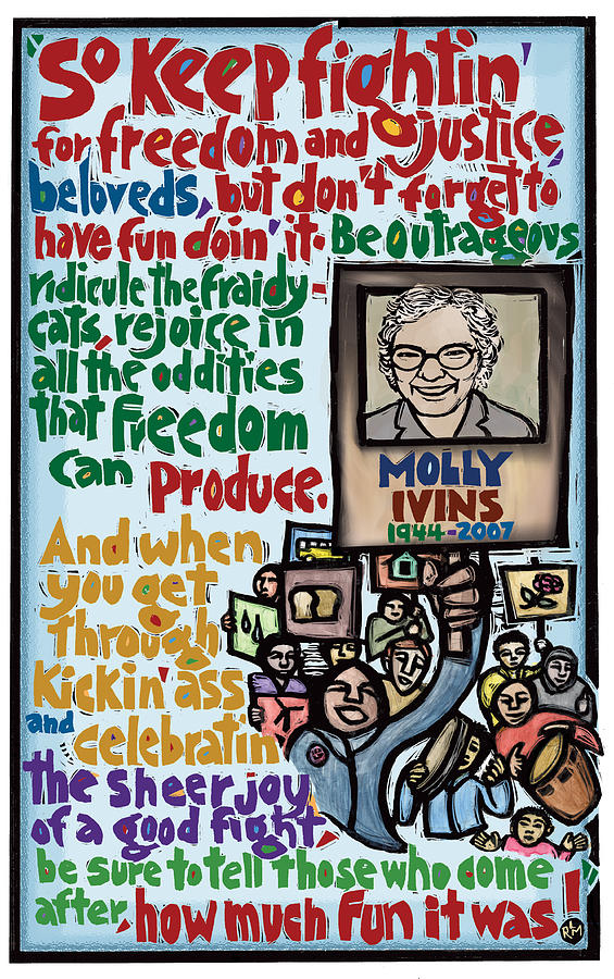 Molly Ivins Mixed Media - Molly Ivins by Ricardo Levins Morales