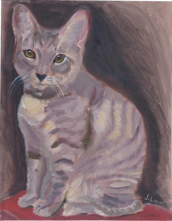 Cat Painting - Molly by James Lopez