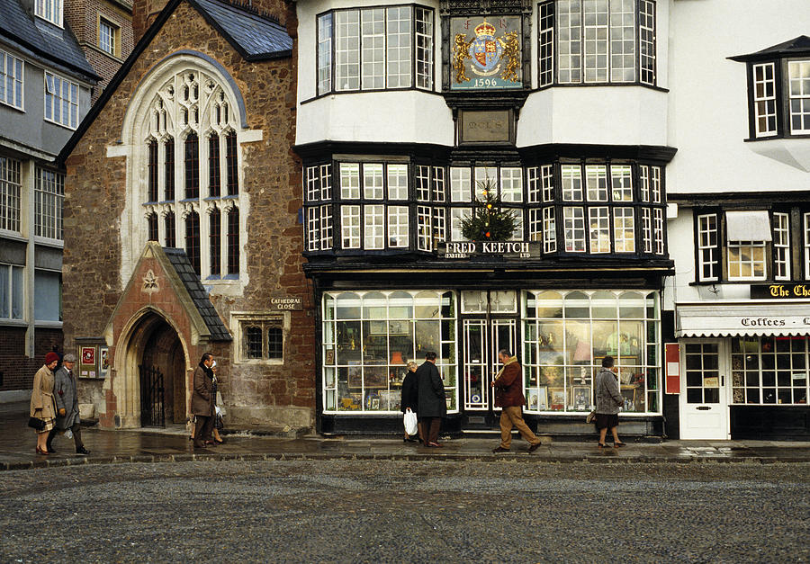 Exeter Photograph - Mols Coffee House From 1596 Cathedral Close Exeter Uk 1980s by David Davies