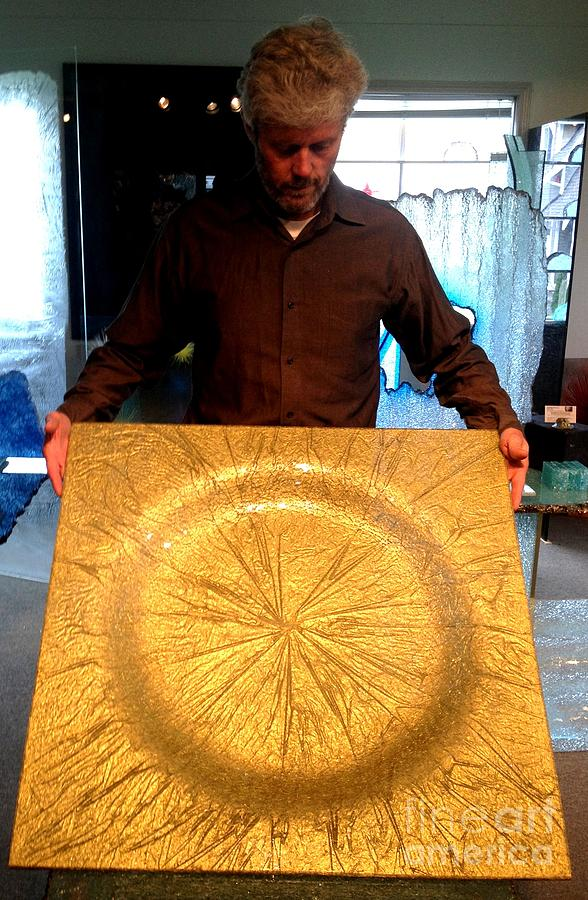 Glass Bowl Sculpture - Molten Gold Bowl Sculpture by Rick Silas