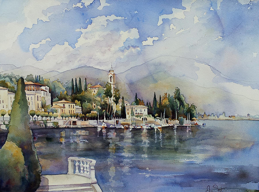 Landscape Painting - Moltrasio Lake Como Italy  by Jim Smither