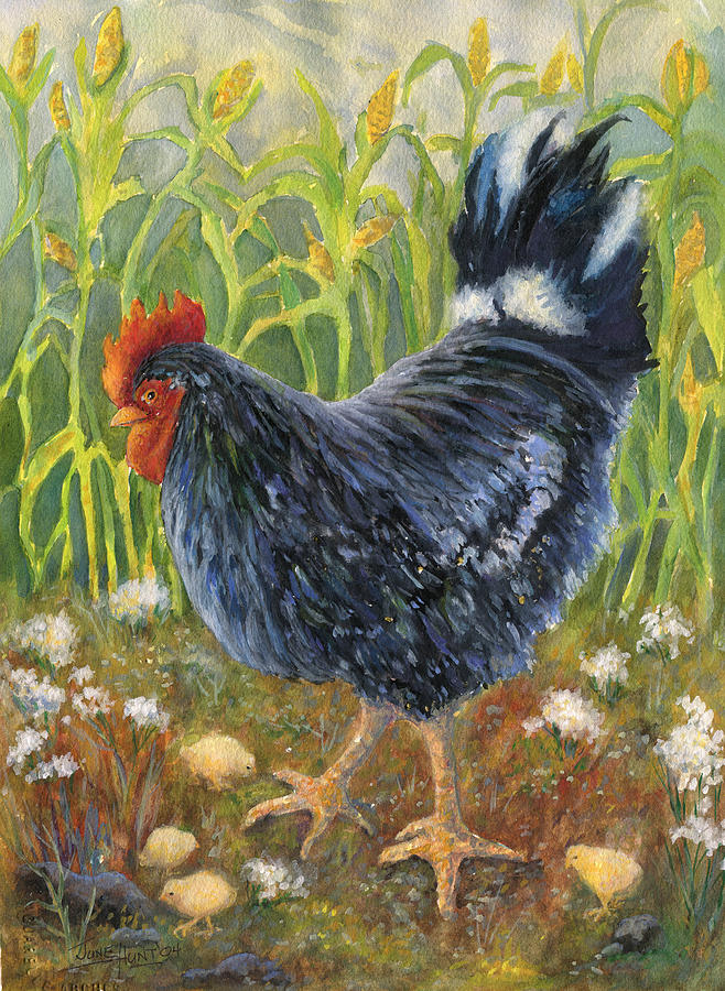 Chickens Painting - Mom And Chicks by June Hunt