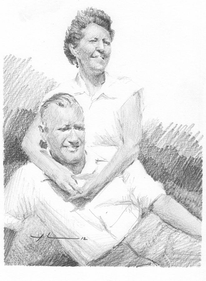 Mom Dad Wind And Sun Pencil Portrait Drawing by Mike Theuer
