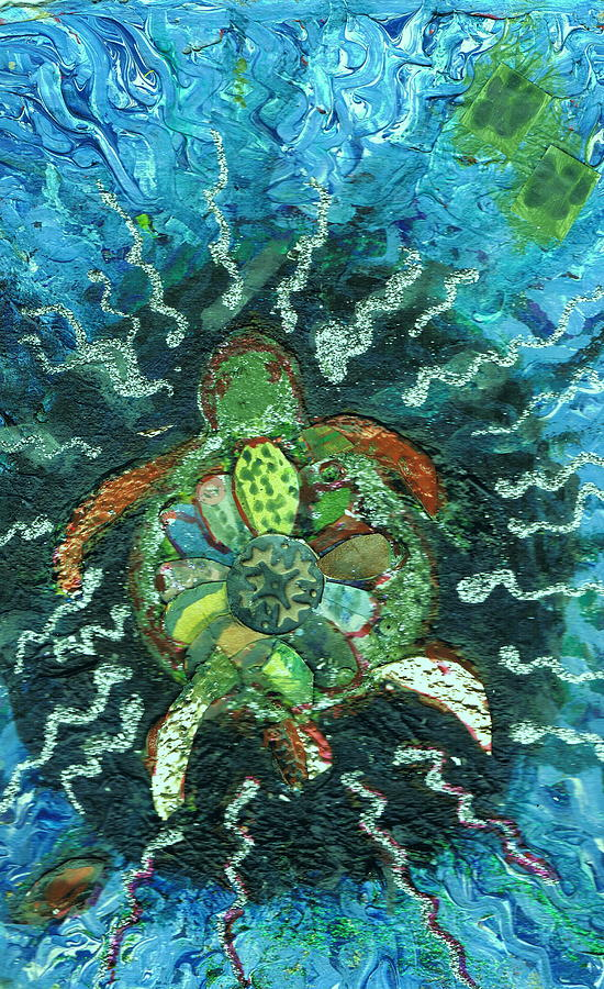 Turtle Mixed Media - Mom There Is A Turtle In The Swimming Pool  by Anne-Elizabeth Whiteway