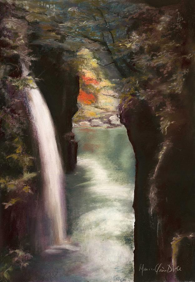 Pastel Landscape Pastel - Moment Of Eternity - Takachiho Falls by Marie-Claire Dole