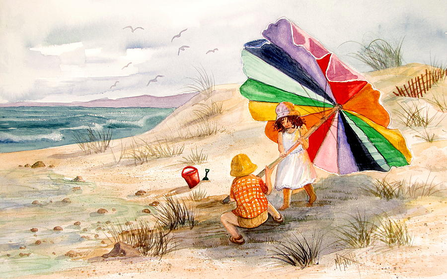Children Painting - Moments To Remember by Marilyn Smith